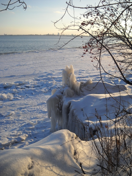 Sculptures on Lake  Superior's shore